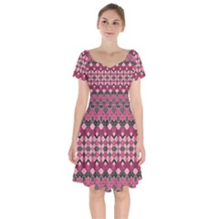 Boho Pink Grey  Short Sleeve Bardot Dress