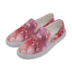 Boho Pastel Pink Floral Print Women s Canvas Slip Ons by SpinnyChairDesigns