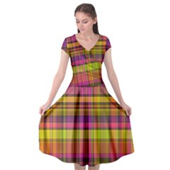 Pink Yellow Madras Plaid Cap Sleeve Wrap Front Dress by SpinnyChairDesigns