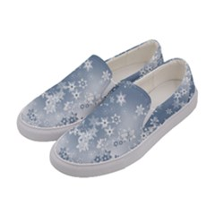 Faded Blue White Floral Print Women s Canvas Slip Ons by SpinnyChairDesigns