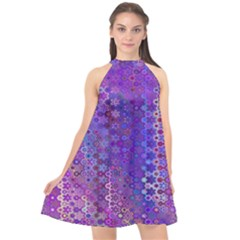 Boho Purple Floral Print Halter Neckline Chiffon Dress  by SpinnyChairDesigns