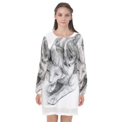 Cat Drawing Art Long Sleeve Chiffon Shift Dress