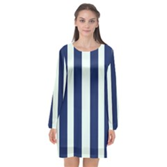Navy In Vertical Stripes Long Sleeve Chiffon Shift Dress  by Janetaudreywilson