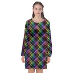 Rainbow Sparks Long Sleeve Chiffon Shift Dress  by Sparkle