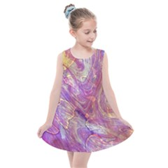 Marbling Abstract Layers Kids  Summer Dress by meanmagentaphotography