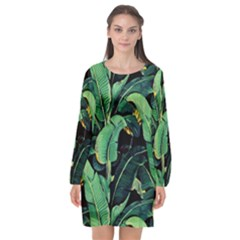 Night Tropical Banana Leaves Long Sleeve Chiffon Shift Dress  by goljakoff
