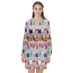 Halloween Long Sleeve Chiffon Shift Dress  by Sparkle