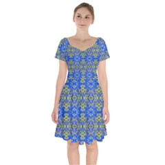 Gold And Blue Fancy Ornate Pattern Short Sleeve Bardot Dress