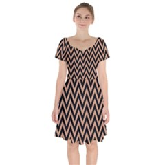 Chevron Style Collection - Antique Brass Brown & Black Short Sleeve Bardot Dress