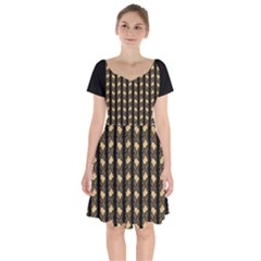 Creamy Yellow Vintage Roses Short Sleeve Bardot Dress