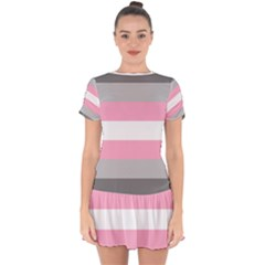 Demigirl Pride Flag Lgbtq Drop Hem Mini Chiffon Dress
