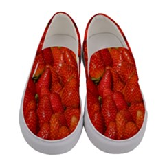 Colorful Strawberries At Market Display 1 Women s Canvas Slip Ons