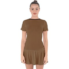 Coyote Brown - Drop Hem Mini Chiffon Dress by FashionLane
