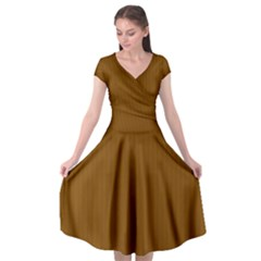 Just Brown - Cap Sleeve Wrap Front Dress by FashionLane