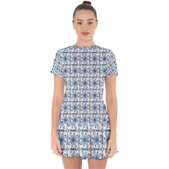 Azulejo Style Blue Tiles Drop Hem Mini Chiffon Dress by MintanArt