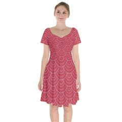 Red Sashiko Short Sleeve Bardot Dress