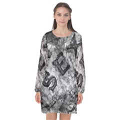 Sex Painting Word Letters Long Sleeve Chiffon Shift Dress