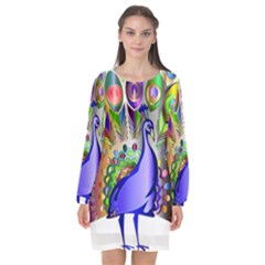 Vectors Peacock Bird Animal Long Sleeve Chiffon Shift Dress