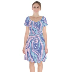 Blue Vivid Marble Pattern 10 Short Sleeve Bardot Dress