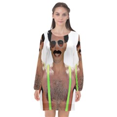 Borat Long Sleeve Chiffon Shift Dress