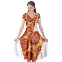 Pizza Slice Cap Sleeve Wrap Front Dress