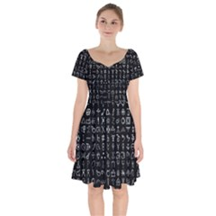 Alchemical Symbols - Collected Inverted Short Sleeve Bardot Dress by WetdryvacsLair