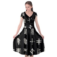 Ogham Rune Set Complete Inverted Cap Sleeve Wrap Front Dress