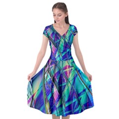Title Wave, Blue, Crashing, Wave, Natuere, Abstact, File Img 20201219 024243 200 Cap Sleeve Wrap Front Dress by ScottFreeArt