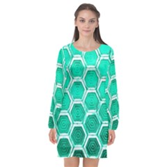 Hexagon Windows Long Sleeve Chiffon Shift Dress