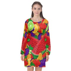 Fruit Life 2  Long Sleeve Chiffon Shift Dress