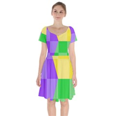 Purple Yellow Green Check Squares Pattern Mardi Gras Short Sleeve Bardot Dress