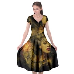 Surreal Steampunk Queen From Fonebook Cap Sleeve Wrap Front Dress