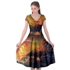 Tiger King In A Fantastic Landscape From Fonebook Cap Sleeve Wrap Front Dress